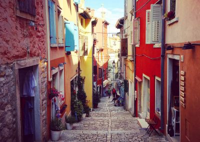 Cobbled streets & painted houses of Rovinj, Istria, a Venetian coastal town about 45 minutes from Zrenj