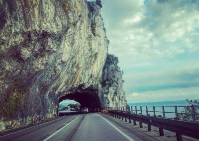 The road high above the Bay of Trieste - a beautiful drive into Italy, through a sliver of Slovenia, from Zrenj